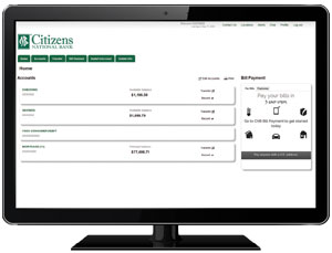 Computer Screen showing Citizens National Bank Online Banking