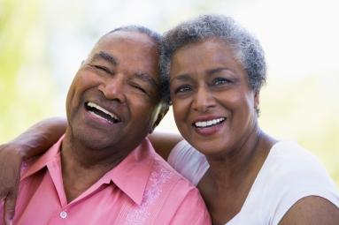 Senior couple relaxing outside